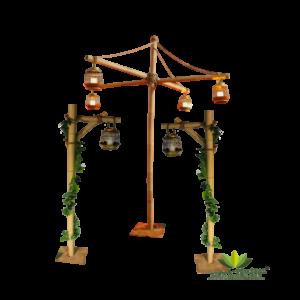 Location support en bambou avec lanternes