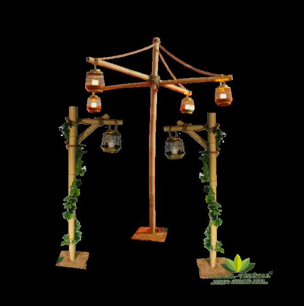 Location de support en bambou et lanternes