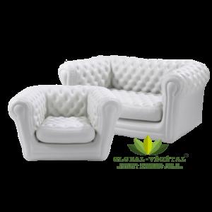 Location de canapé et fauteuil chesterfield blanc